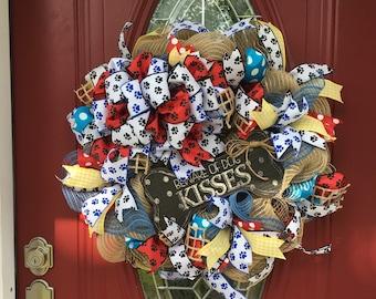 Wreath, Dog Wreath, Pet Wreath, Doggie Wreath, Beware of Dog Kisses, Pet Lovers, Dog Lovers, Door Wreath, Dog Lovers Gift, Dog Bone Wreath