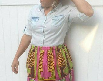 Ankara /African Print Skirt, Elastic Waist gathered Skirt,