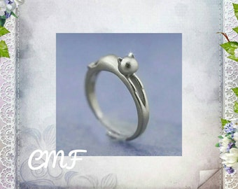 Cat Ring 925 Sterling Silver  Ring Adjustable Ring