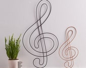 Wire Treble Clef, treble clef, Music gift, gift for musicians, Wall Art, Wall Hanging, Musical Note Decor, wire gifts, Copper Home Decor