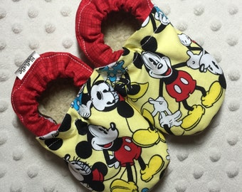 Soft Sole Baby Shoes Toddler Shoes Baby Booties Crib Neutral Mickey Mouse Cotton Fabric Faux Fur Faux Suede Handmade