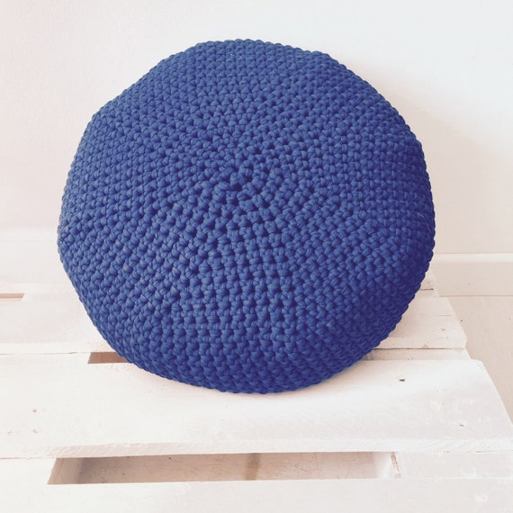 Round Floor Pillow Blue : Round Blue crochet pouf floor cushion by Geometrikdesign