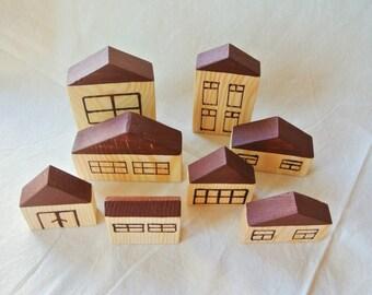 Wood house blocks. Wood village blocks