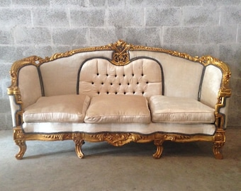 antique french louis xvi 5 piece chair bergere wingback champagne black velvet tufted rococo baroque sofa