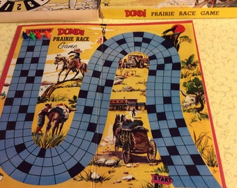 Vintage and rare 1950's board game Dondi Prarie Race Game