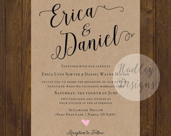 Rustic Wedding Invitation, Kraft Wedding Invitations, Elegant Wedding Invitation,  Country Wedding Invitation, Modern Wedding Invitation