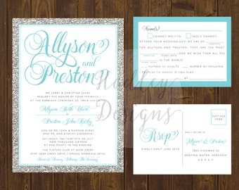 Teal Glitter Wedding Invitation, Silver Glitter Wedding Invite, Elegant Wedding Invitation, Silver Wedding Invitation, Modern Wedding Invite