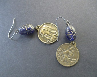 OOAK vintage religious medals and blue glass bead pierced dangle earrings