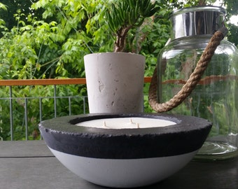 Citronella / Lemon Myrtle natural soy candle in Large Dipped Cement Bowl