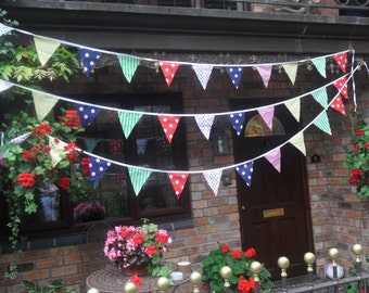 Multi coloured fabric party bunting, 42 ft, (3 x 14 ft lengths) weddings, christenings, birthdays