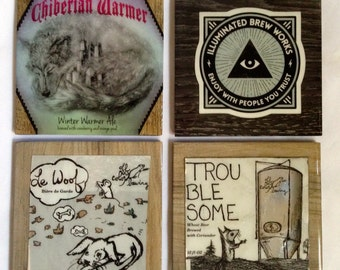 COASTERS! pick your favorites. Vinyl tile set of 4.