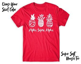ASA Alpha Sigma Alpha Pineapple Trio Choose Your TShirt Color!