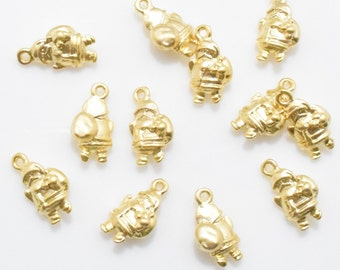 Santa Pendant . Santa Claus Pendant . Christmas Pendant . Xmas Pendant . 16K Matte Gold Plated over Pewter - 4pcs / IA0061-MG