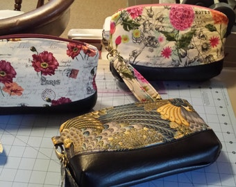 The Clematis Wristlet/Evening Clutch or cosmetic bag