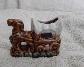 SOUVENIR TOOTHPICK HOLDER, Tombstone Arizona Souvenir, Porcelain Horse and Wagon, Collectible Souvenir