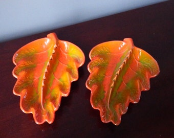 TWO ASHTRAYS by CALIFORNIA,Vintage Pottery Ashtrays, Retro, Leaf Pottery,Orange Dish