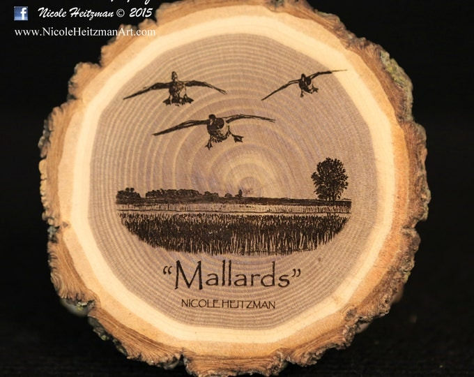 Father's Day Gift for men Mallard Art Duck Art Duck Coaster Wood Art Lodge decor Cabin Decor Man Cave Decor Wood Coasters by Nicole Heitzman