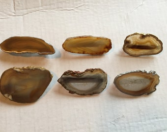 Agate Slab Barrettes - natural