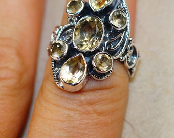 Citrine & 925 Sterling Silver Ring sizes 7, 8, 9 by Silver Trend