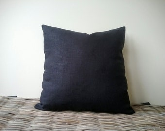 Luxury black linen pillow cover - plain black pillow - natural linen pillow - black lumber pillow - black linen cushion - ebony pillow