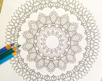"""Mandala """"Queen"""" - Hand Drawn Adult Coloring Page Print"""