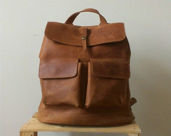 HandMade LEATHER BACKPACK  / Handcrafted leather Rucksack with two front pockets