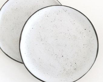 Pair of ceramic side plates, handmade rustic minimalist