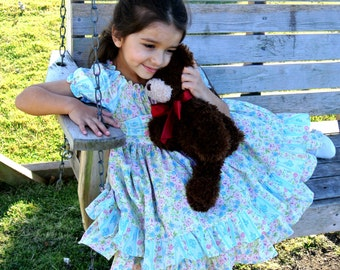 Twirly ruffled peasant dress, girls' size 5,6,7