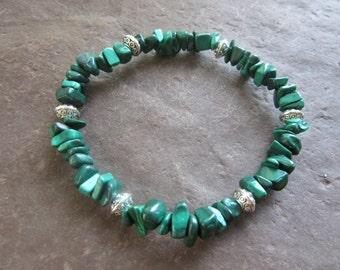 The chips malachite bracelet! Stretch bracelet in natural green malachite chips (natural genuine stone) Reiki infused