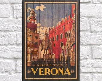 Verona Travel Art print Wood wall art decor Retro Travel Poster Gift Home decor Gift Birthday gift for Travelers Panel effect Wood art Print