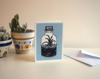 Light Blue Corked Terrarium - A6 Botanical Illustration Greeting Card