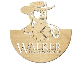 Wood wall clock Walker Texas Ranger