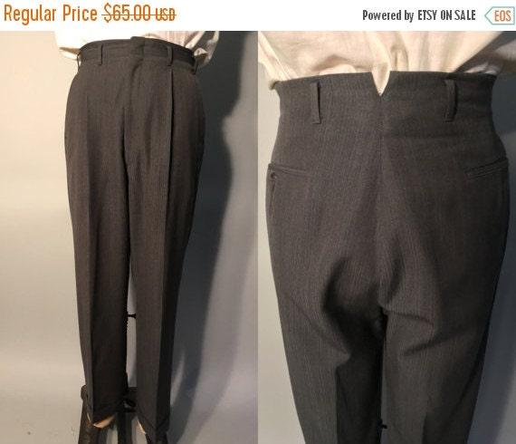1950s Mens Trousers | Dark Grey Hollywood Waist Pants with Blue Fleck | 32x29.5 $39.00 AT vintagedancer.com