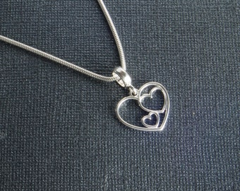 Sterling Silver Heart Necklace   Valentine's Day