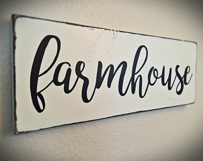 Farmhouse Sign | Black & White Farmhouse Decor, Hand Painted