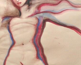 Female Red-Blue original pastel watercolor piece