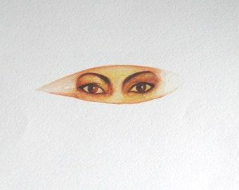 Brunette woman look original watercolor painting eyes soul gift message OOAK