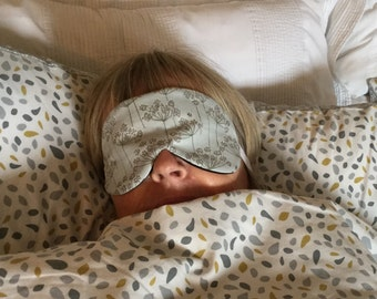 Sleep mask in Pale Grey Cow Parsley,  Beauty Mask, Travel Mask