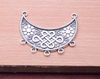 antique silver moon pendant finding,Filigree flower boat shape charms,10pcs metal moon Shaped 5 Holes Connector Charm Pendants 47x40mm