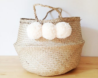 dipped dyed white belly basket seagrass panier poule large. Black Bedroom Furniture Sets. Home Design Ideas