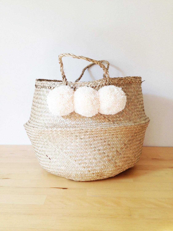 Pom Pom Seagrass Belly Basket Cream Panier Boule Planter