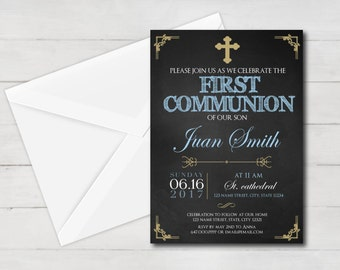 first communion invitation boy, first communion boy, first communion invitation printable, 1st communion, first communion party, gold
