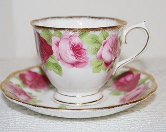 Royal Albert Old English Rose Bone China Teacup & Saucer Red and Pink Roses
