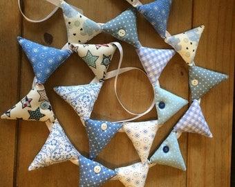 Blue Nursery Bunting ~  Blue Fabric Garland ~ Shabby Chic Garland ~ Blue Nursery Decor ~ Fabric Bunting.