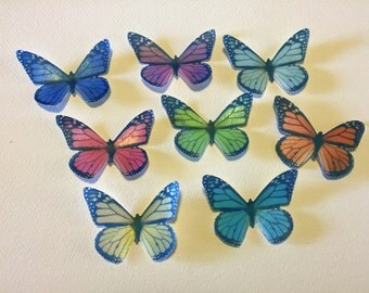 Edible Monarch Butterflies, Double-Sided 3-D Wafer Paper Large Monarch Butterflies for Cakes, Cupcakes or Cookies