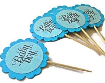 Baby Boy Shower Decoration, Blue Cupcake Toppers, Scaloop Circle Cupcake Toppers, Baby Boy Party Picks