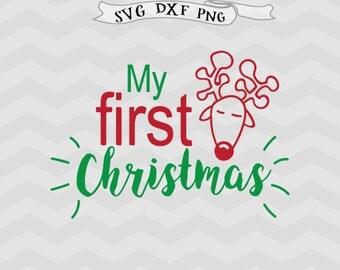My first Christmas SVG Winter SVG Cricut downloads Kids Christmas svg Baby Christmas svg wreath svg Cricut files Happy Holiday Cutting files