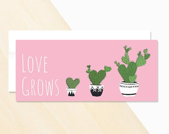 Love Grows Greeting Card, I love you, Valentine card, mini cactus, flowering cactus, types of cactus plants, urban jungle, nopal cactus,
