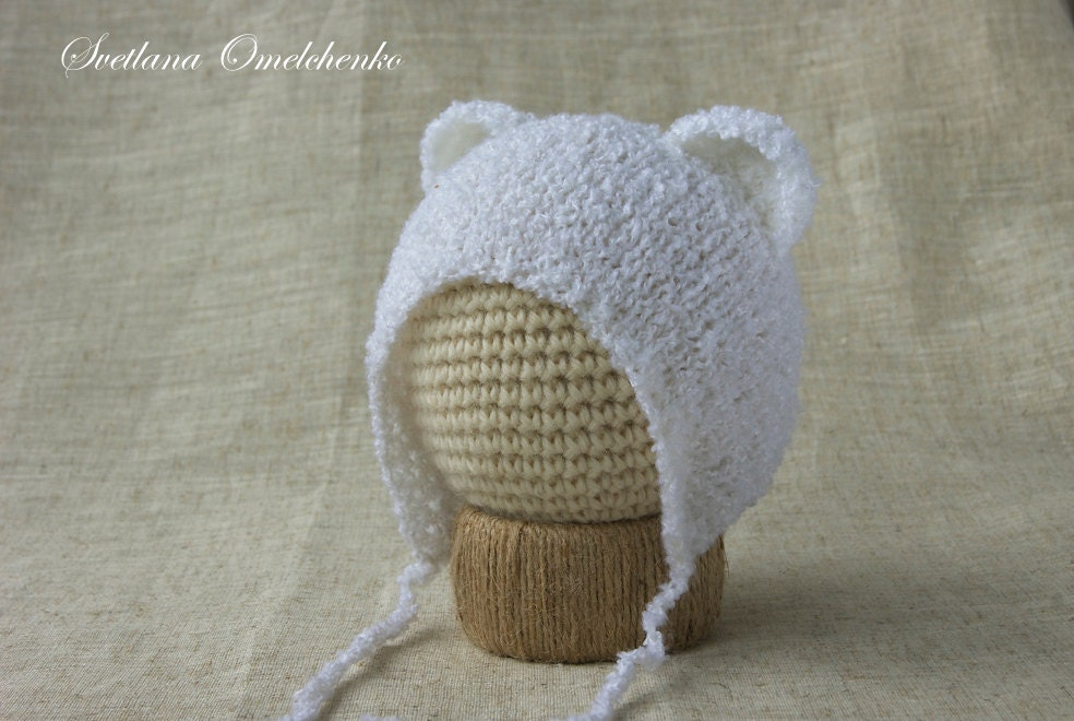 Pattern Bear Hat Newborn Knit Baby Hat Newborn hat Photo prop