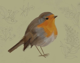 A6 postcard, Red Robin, Recyclingpaper